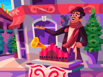 grinder character digital cartoon illustration art vector design