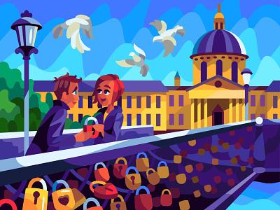 Pont Des Arts character digital cartoon illustration art vector design