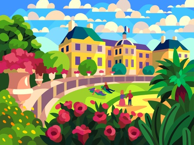 Luxembourg Gardens character digital cartoon illustration art vector design