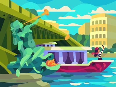 Boat on the Seine character digital cartoon illustration art vector design