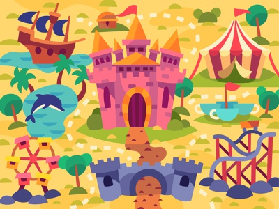 Amusement park digital cartoon art illustration vector design
