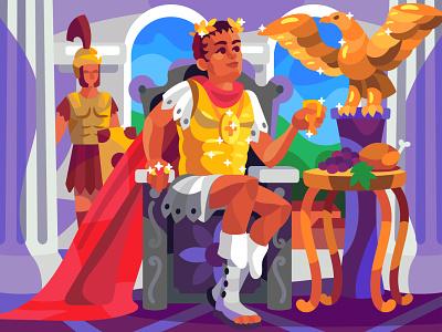 Caesar character digital cartoon art illustration vector design