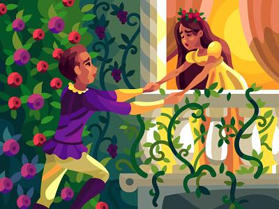 Romeo and Juliet character digital cartoon illustration art vector design