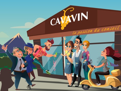 """facebook cover for a wine shop """"Cavavin"""" digital art alpes wine girl hipster facebook cover caricature characters cartoon illustration"""
