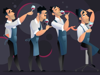 """Tasting session in the wine shop """"Cavavin"""" feed cover illustration vector people style design flat character cartoon tasting wine"""