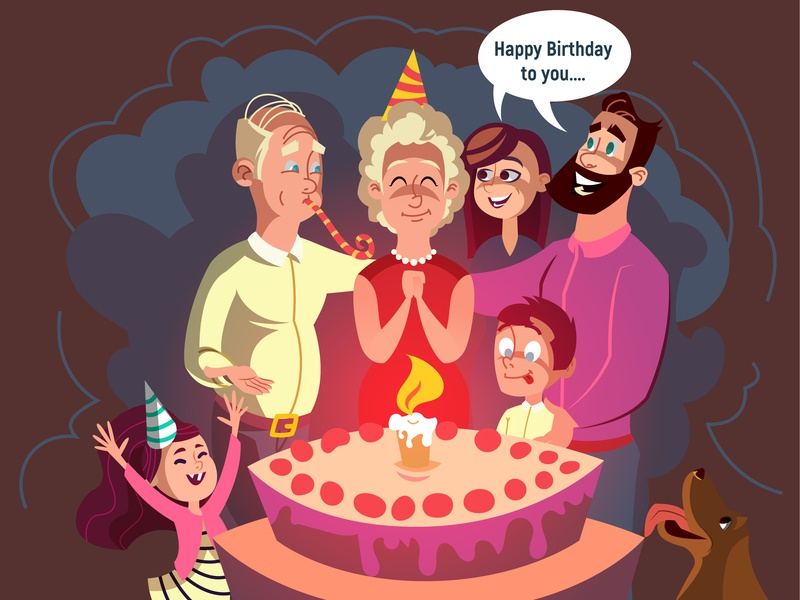 Medicare Medigap illustration birthday cake art digital illustration vector design people characters cartoon