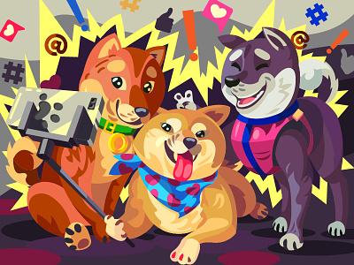 Shibainu digital decor shiba inu dogs character illustration vector art cartoon design