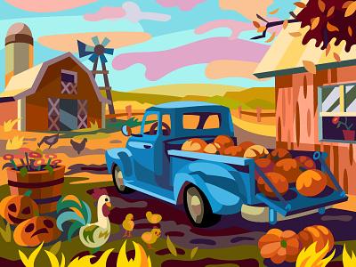 Farm Car farm pumpkins halloween comic digital illustration vector art cartoon design