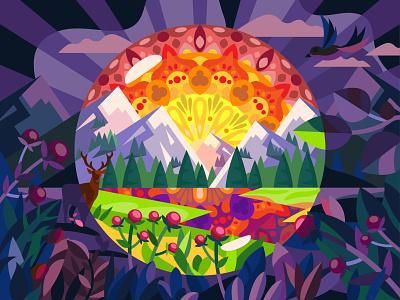 Mandala Landscape sunrise mountains mandala landscape illustration vector art design