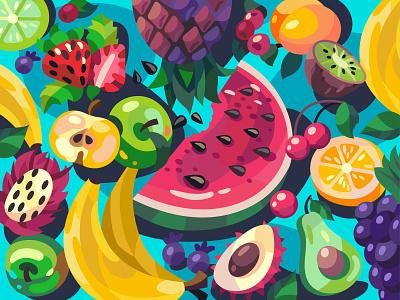 Fruits coloring book food fruits digital illustration vector cartoon art design