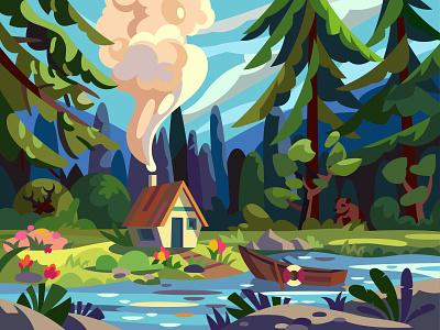 Forest House landscape graphic digital illustration vector cartoon art design