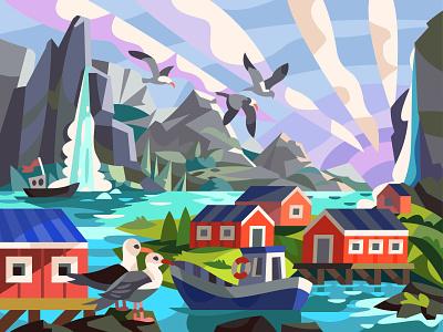 Norwegian village landscape draw graphic digital illustration vector cartoon art design