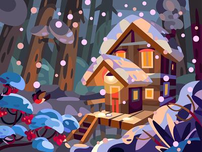 Cozy House christmas winter landscape graphic digital illustration vector cartoon art design