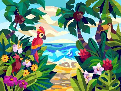 Tropic Landscape sea palms coast landscape comic graphic digital illustration vector cartoon art design