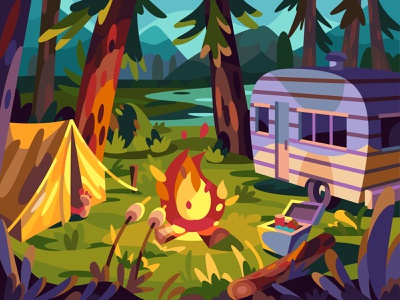 Campfire campfire camping landscape illustration cartoon vector art design