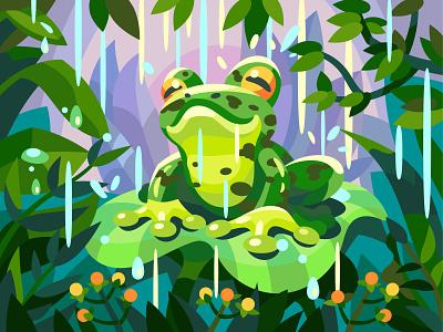 Cute frog frog draw comic landscape character digital cartoon illustration art vector design