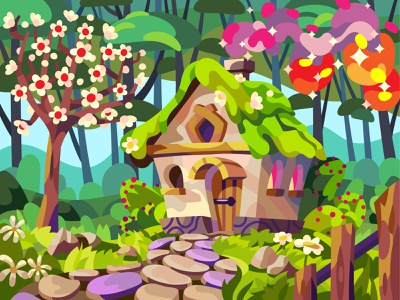 Mystery Cabin magical fairytale spring drawing landscape cartoon illustration vector art design