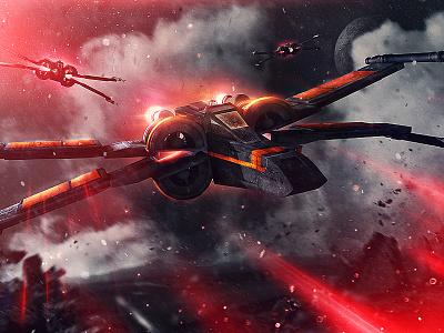"""Raid On Sullust"" space cinema kylo snoke ship c4d x-wing bb8 poe wars star"