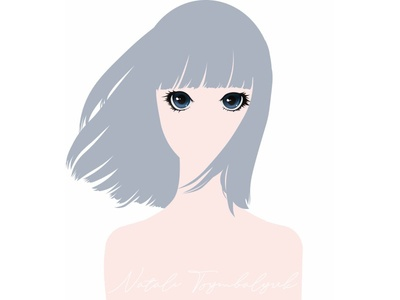 Girl minimalism illustrator vector art illustration avatar eyes manga anime girl