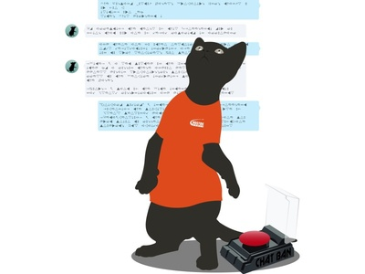 chat administrator mouse follow button lock ban cat dialogue skype chat