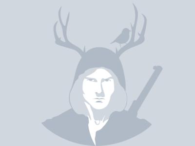 man illustrator vector portrait hood deer horns man