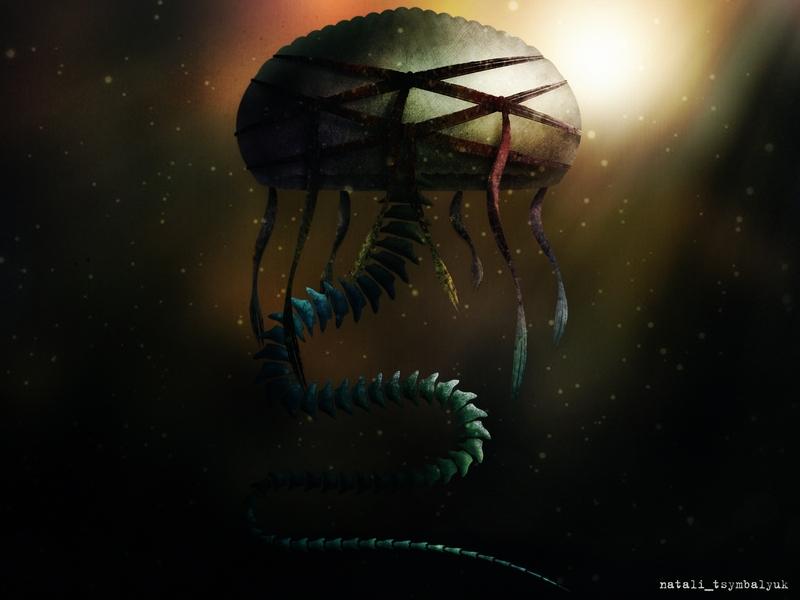 fantasy фотошоп позвоночник змея медуза гриб иллюстрация