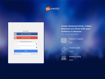 Goeventz Login window Test By Usercible usercible website event popup login design ux ui