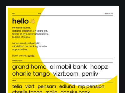 Folio - 2020 portfolio page portfolio design swiss poster swiss design swiss minimalistic minimalist portfolio single page singlepage one pager one page onepager onepage