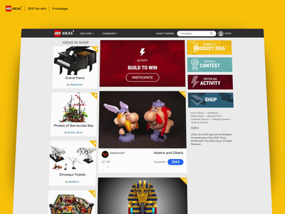 LEGO Ideas | Re-skin 2021 | Frontpage navigation content design figma responsive crowdsource crowdsourcing cards feed frontpage redesign reskin lego