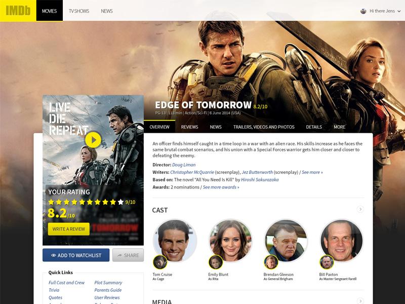 IMDb Redesign - Movie page imdb redesign web layout movies concept