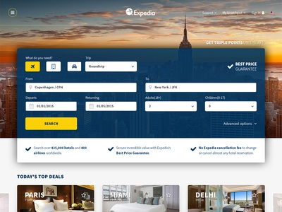 Expedia front page redesign