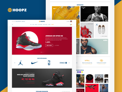 Hoopz v2.0 full view basket shoes webshop ecommerc design countdown basketball basket