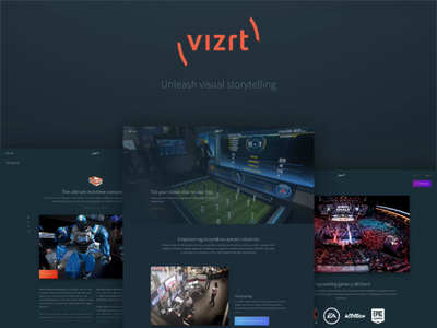 New vizrt.com - Unleash visual storytelling sitecore 9 product page frontpage article page content creation content design sketch design