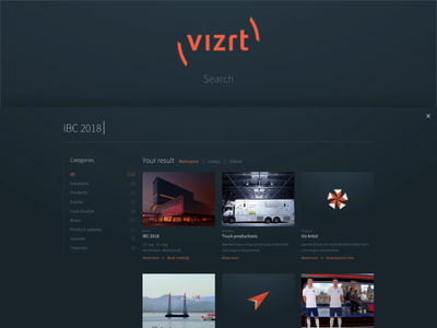 New vizrt.com - Search full screen modal overlay sitecore 9 solr search search result search results search