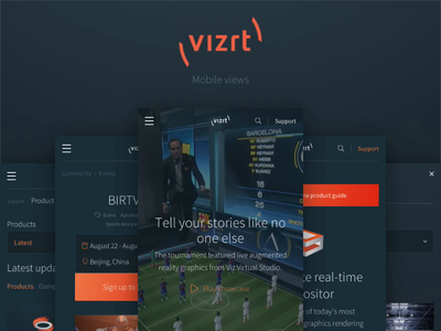 New vizrt.com - Mobile views navigation design mobile website article pages search content mobile content mobile website design mobile mobile search