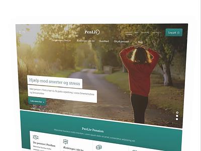 PenLiv Frontpage content website web navigation footer pension hero rotator design camera landing page frontpage
