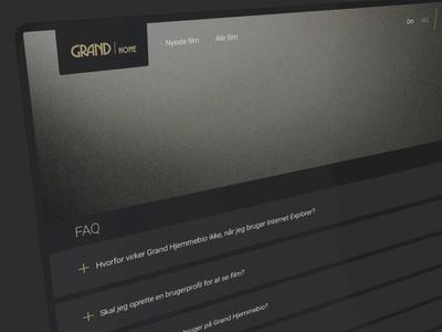 Grand Home - Streaming service - FAQ movie site movies movie faq content content design content faq redesign concept design