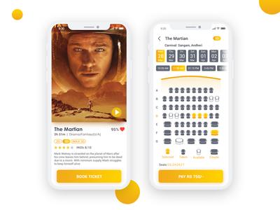 Cinema Booking App ticket movie shot dribble app booking cinema