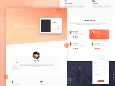 About us screen team landing page dribble design illustration logo ui web about us