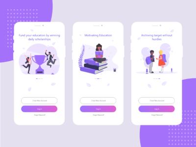 Onboard screens for educational app vector ios branding illustraion app  design log in onboard colours ui design