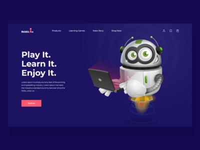 Robotic Toys landing screen ecommerce uiux color landingpage web toys robotic robot artificialintelligence
