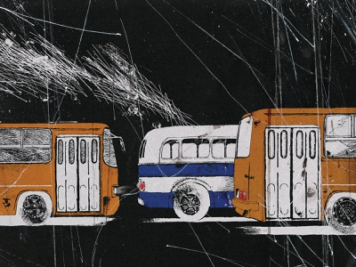 My hometown vol.2 traveling travel town hometown home hungarian hungary classic effects blue yellow bus acrylic paint artwork inking art ink black illustration