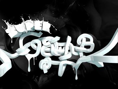 Super Gayus   White Collar Cream 3ds max cream 3d typography milk