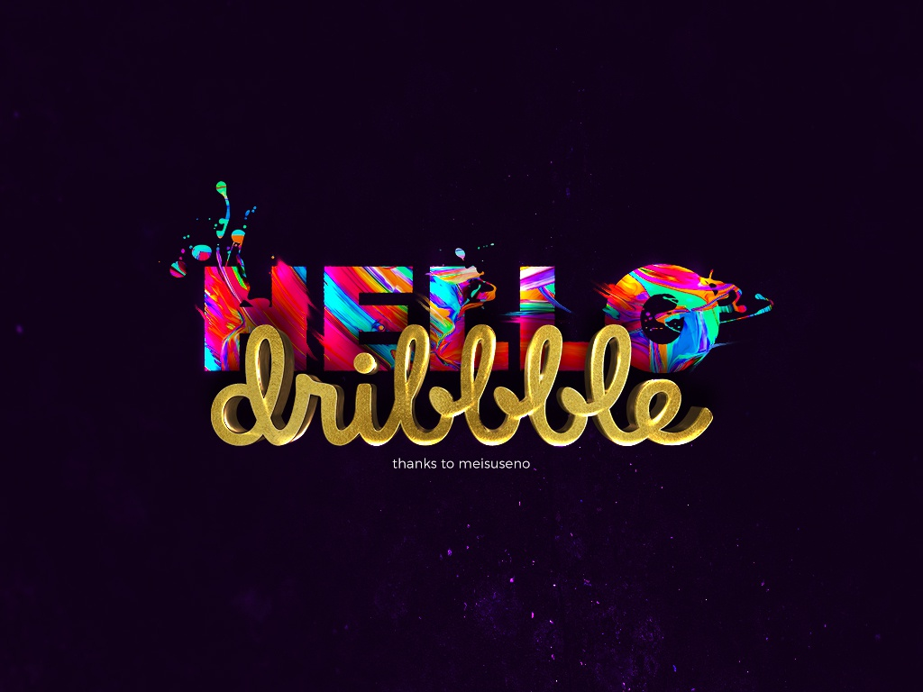 HELLO dribbble colorful gold paint
