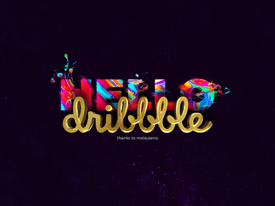HELLO dribbble texture colorful gold paint