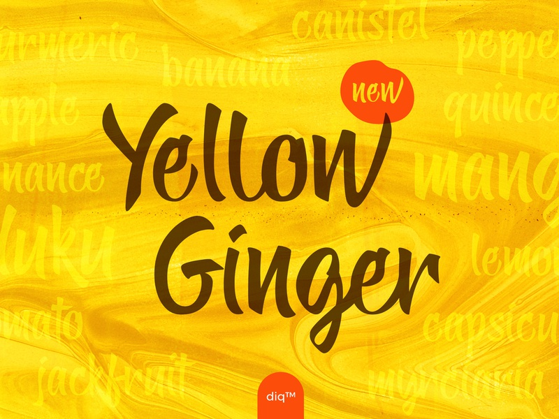 Yellow Ginger font organic chic playful fresh vegan bright summer new font design hand lettering font