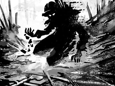 Torque digital sketch black  white illustration