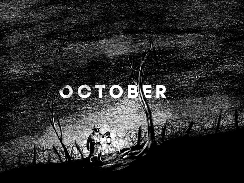 October black  white digital illustration