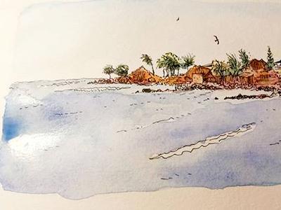 Pointe des Almadies - Dakar watercolor illustration sketch