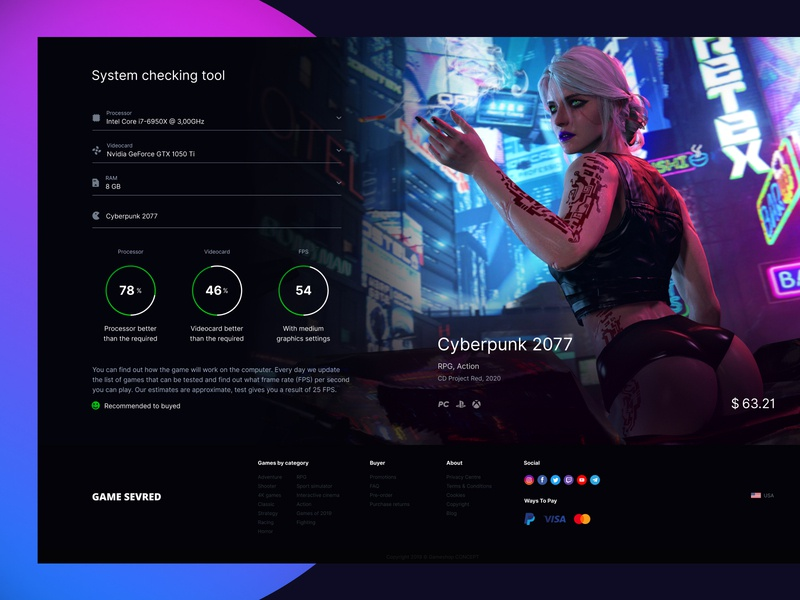 System checking tool - Dashboard ciri design shop desktop cyberpunk game frame figma dashboard store ux ui